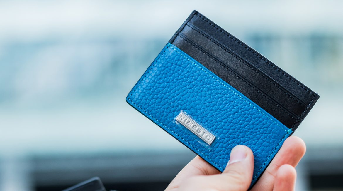 Blue Leather Calfskin Card Holder